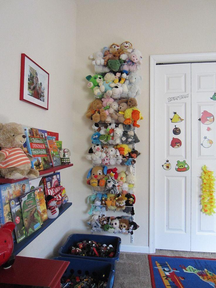 Stuffed animals storage: Closet Maid 8-tier adjustable door rack from Target ($34.99). Could put on the back of Emma's door.
