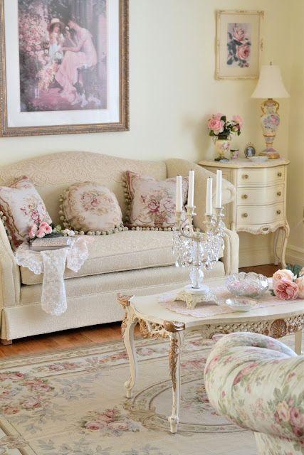 Sweetly feminine, subtly shabby living room decor at its loveliest.