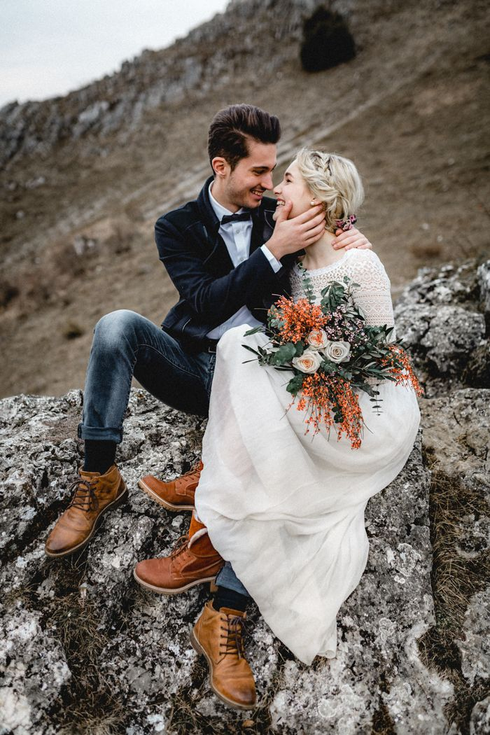 Ethereal Mountain Elopement Inspiration at Eselsburger Tal | Image by Kathi & Chris Vanlight Photography