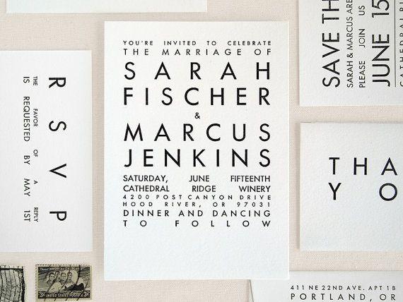 Modern Wedding Invitation - Simple Mid Century Typography - Letterpress Sample - Vineyard Utility
