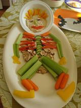 Healthy Halloween treats - vegetable skeleton
