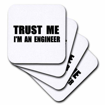 3dRose Trust me Im an Engineer - fun Engineering humor - funny job work gift, Soft Coasters, set of 8