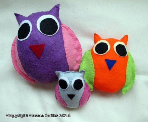 Show-and-Tell-Felted-Owls made with templates from Carol's Quilts.... a gorgeous decoration in any room!