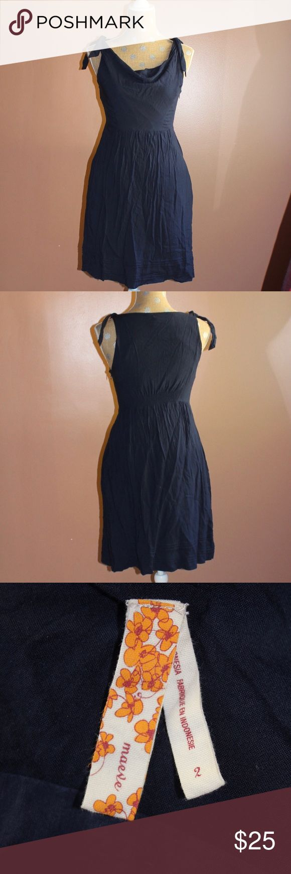 Anthro tied shoulder navy mini dress An adorable little navy frock from Anthro. Ties at the shoulder and draped at the neckline. In excellent shape! Anthropologie Dresses Mini