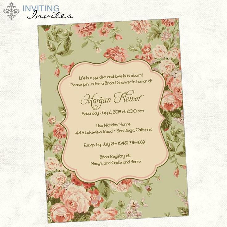 English Garden Rose Bridal Shower Invitation