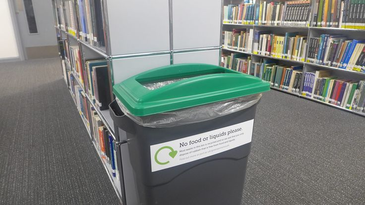 Labelled, green and waiting.  The challenge with recycling bins is not to get our clients to use them but to keep the odd cup of coffee from joining the empty cups! #DryRecyc #GreenUniLibrary