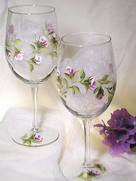 Glassware  Hand Painted Wine Glasses Amethyst by HandPaintedPetals, $42.00.....HA! I bet I know a person or two who could paint these up for me!!!