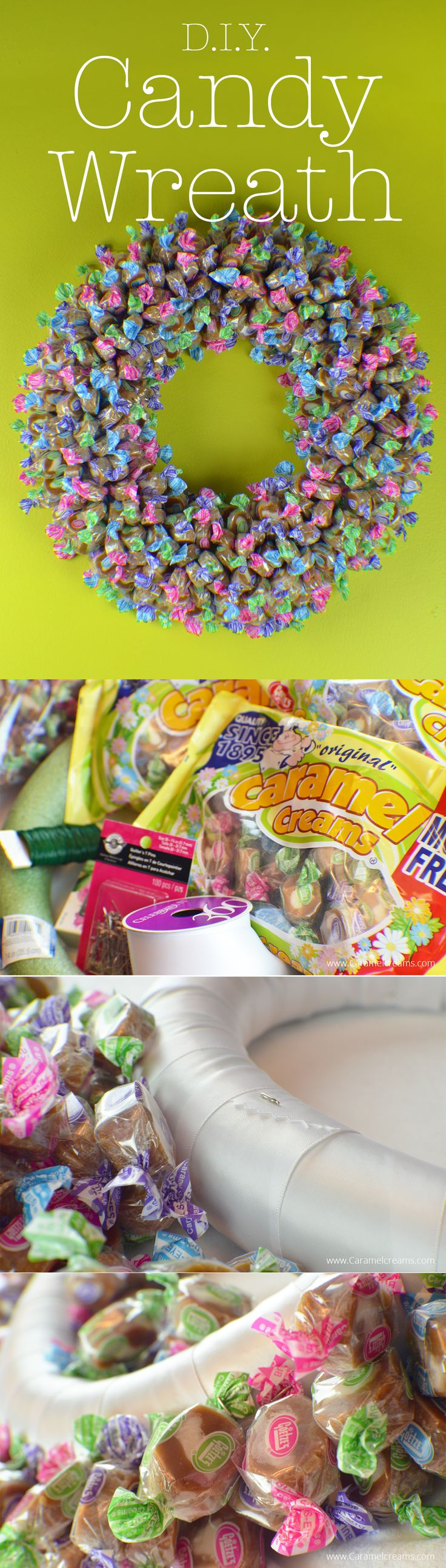 What a fun idea! Make a pink, green, blue and purple candy wreath with Goetze's Spring Caramel Creams®! This beautiful DIY caramel candy wreath is super fun and easy to make. Just pin Caramel Creams® to a wreath base and hang! Your candy wreath will bloom with every caramel you eat!
