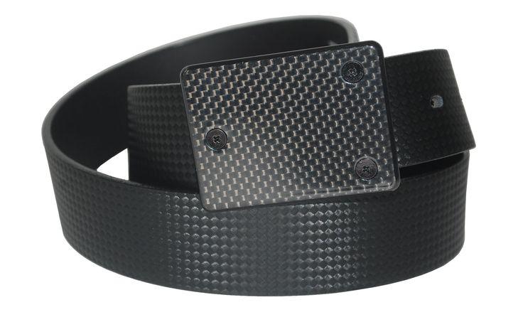 Leather Strap Belt with Carbon Fibre Pattern Strap, Featuring a Carbon Fibre Buckle - $75.00
