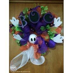 Corona Fantasmitas Halloween Corona Halloween Fantasmas Adorno Halloween Adorno para puerta
