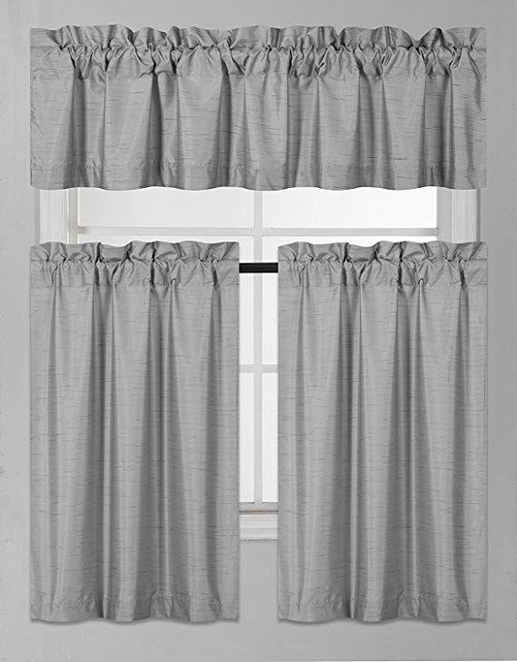 Fancy Collection 3 Pieces Faux Silk Blackout Kitchen Curtain Set