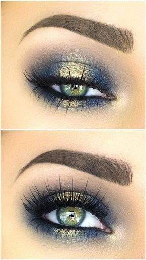 Blues of the Sea eye makeup look, list of makeup products, makeup hacks, blue and gold eyeshadow, smokey eye makeup, eye makeup ideas.
