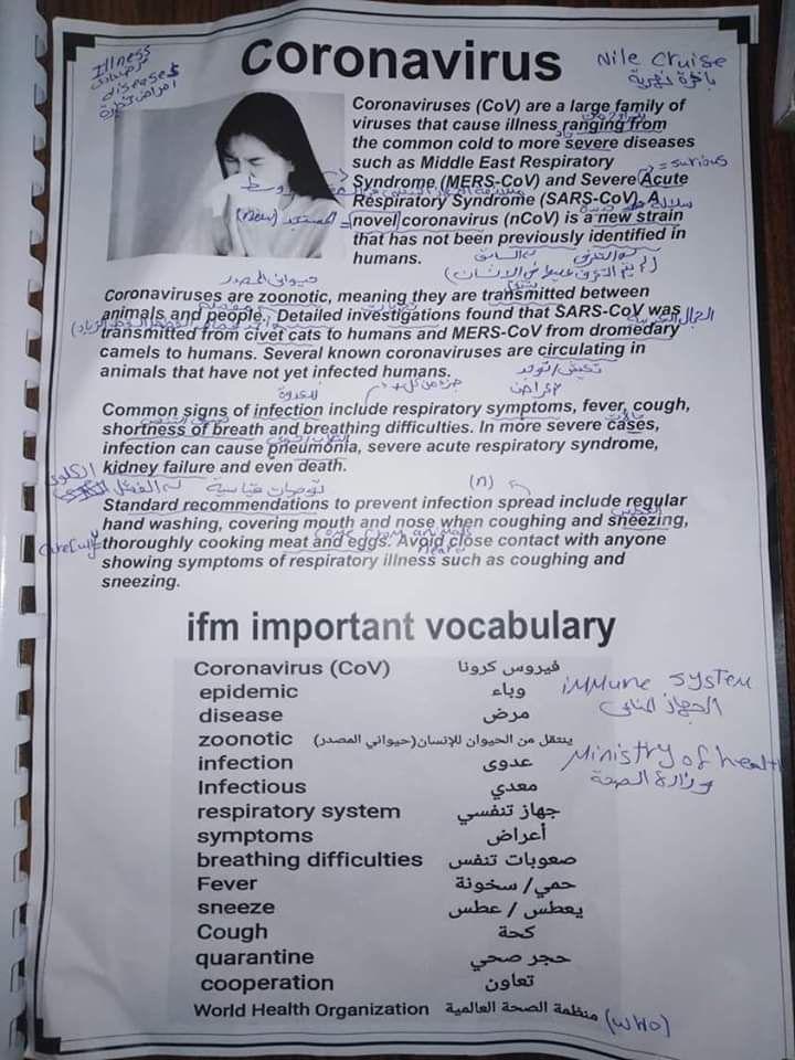 برجراف وترجمة عن فيروس كورونا A Paragraph About Corona Or Cov 19 للمرحلة الإعدادية و الثانوية الثانوية العا English Language Teaching Language Teaching Severe
