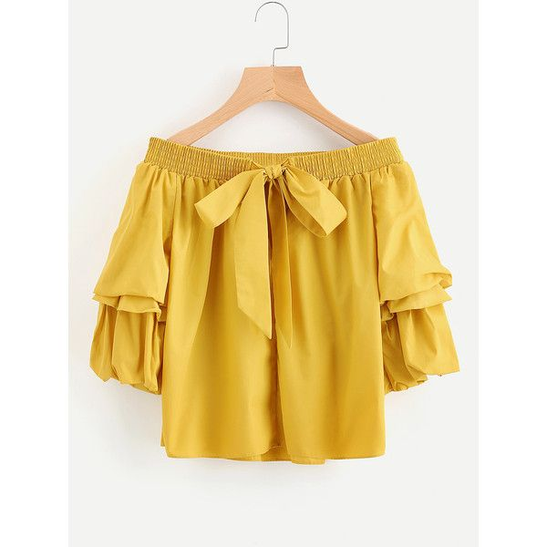 Bardot Lantern Sleeve Top With Bow (56 BRL) ❤ liked on Polyvore featuring tops, bow top and yellow top