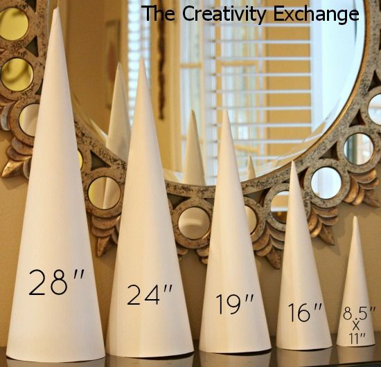 Never buy another craft cone again!! Cyndy created a template for 5 sizes of craft cones that are used to make sturdy cones out of rolled poster board. These cones are just as durable as the paper mache (because they are rolled twice). The Creativity Exchange