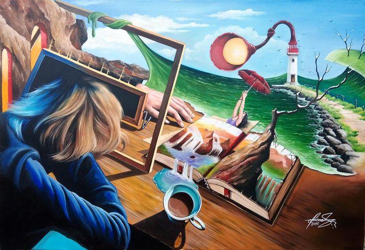 """WHEN STORIES COME TO LIFE"" Oil on canvas. #art #painter #painture #surrealism"