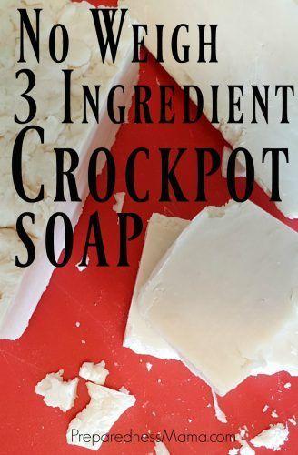 No weigh 3 ingredient crockpot soap using the hot process method | PreparednessMama