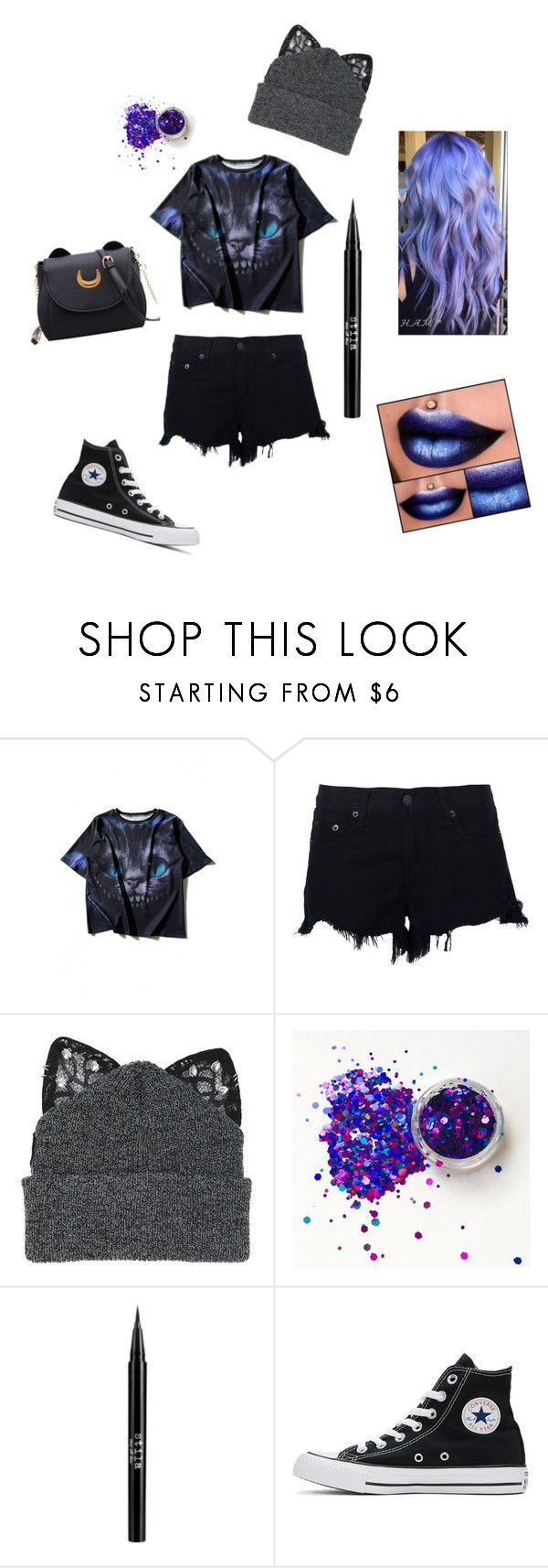 """""""Cheshire Cat"""" by fantasy-cat-16 on Polyvore featuring WithChic, rag & bone, Silver Spoon Attire, Stila and Converse"""