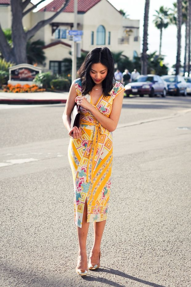 A brightly printed dress with sunshine colors inspired by the coast. via @Amy Higgins Neill                                                                                                                                                                                 More