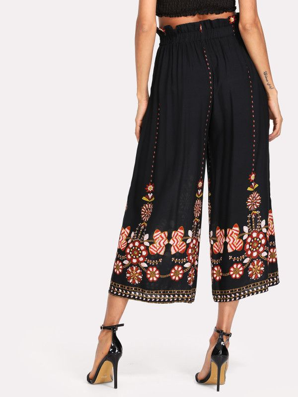Shop Flower Print Ruffle Waist Palazzo Pants online. SheIn offers Flower Print Ruffle Waist Palazzo Pants & more to fit your fashionable needs.