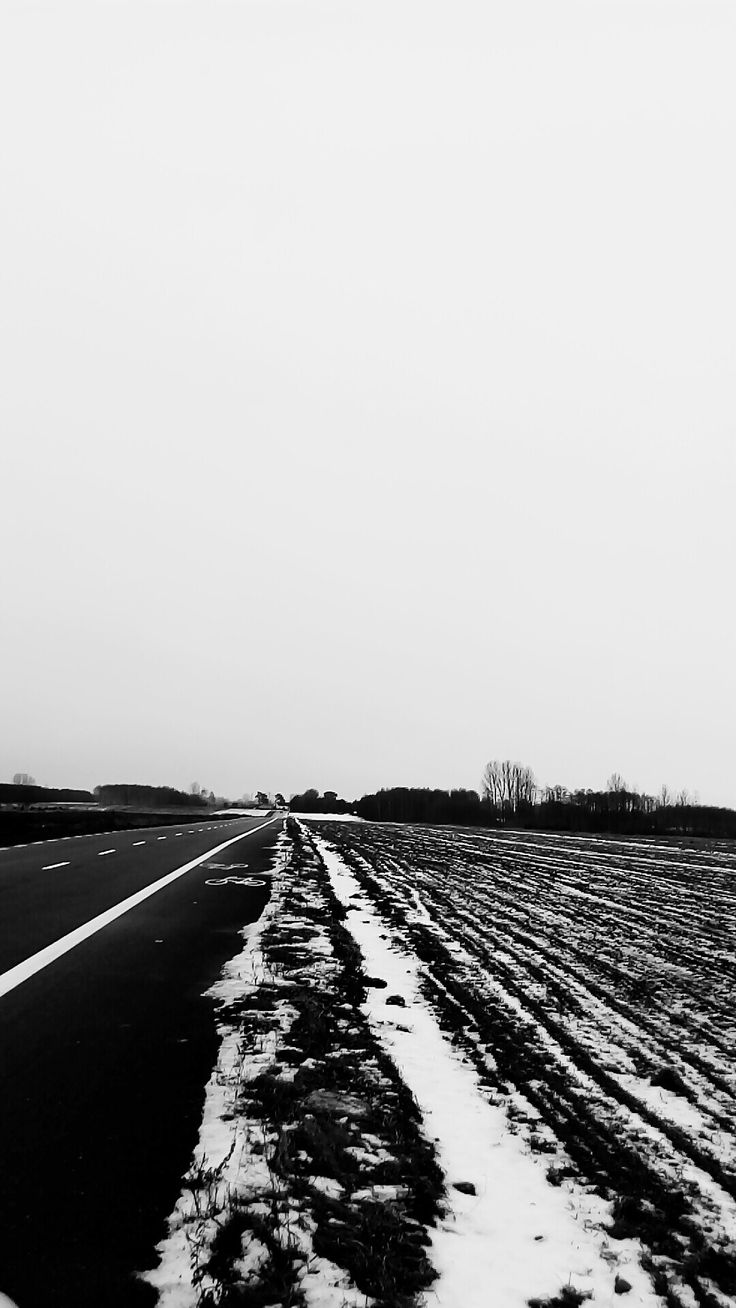 black and white, the road in winter, landscape, snow field, photo,