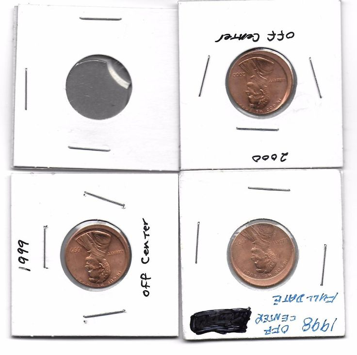error coin lot of off centers Lincoln cents 1998.1999.2000 and 1 way off center