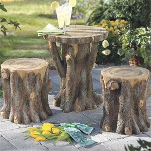 Tree trunk stools and table