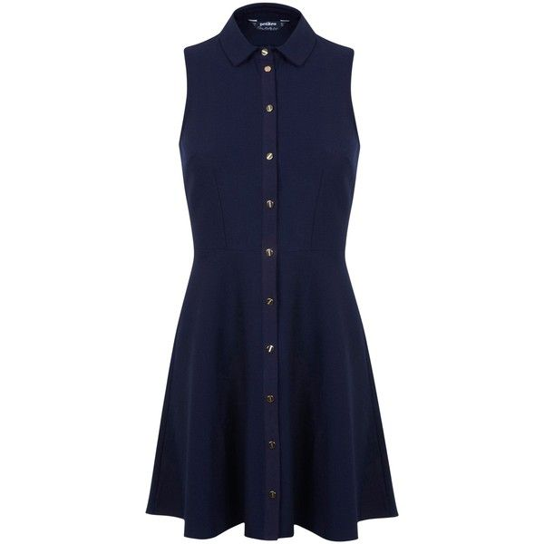 Miss Selfridge Petite Shirt Dress, Navy ($53) ❤ liked on Polyvore featuring dresses, petite, long sleeve shirt dress, flared skirt, maxi shirt dress, shirt-dress and midi dress