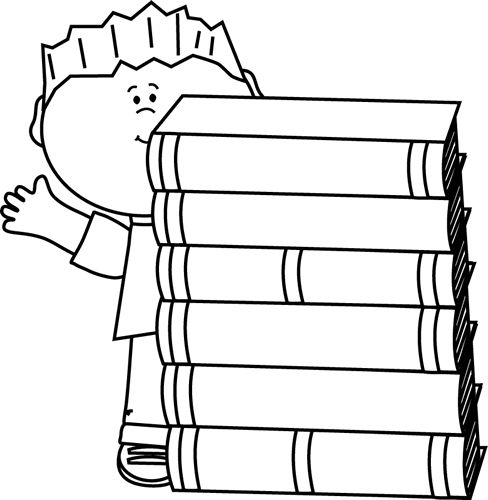 Black and White Boy Waving Behind Books Clip Art - Black and White Boy Waving Behind Books Image