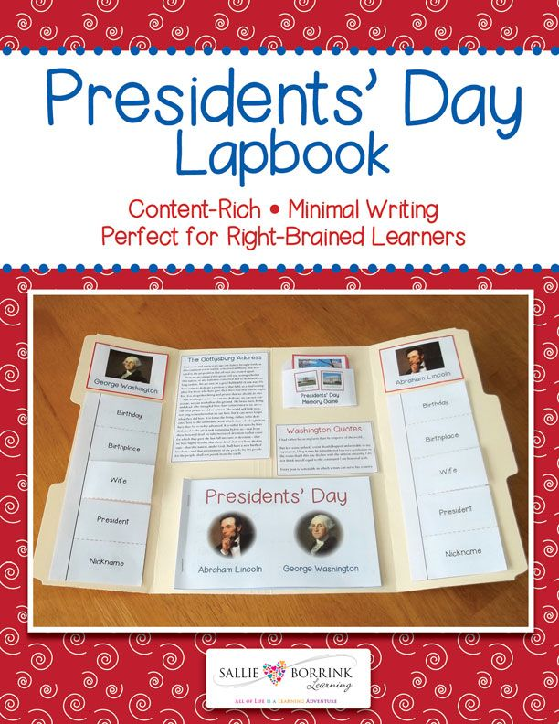 This Presidents' Day lapbook (or interactive notebook) is the perfect overview of Presidents' Day and focuses on George Washington and Abraham Lincoln. It is designed to be used in conjunction with a few books about the topic.  This content-rich lapbook requires minimal writing and is perfect for right-brained learners and reluctant writers. It also includes many pictures so it is great for visual learners.