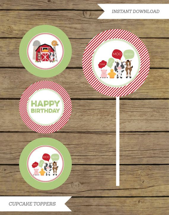 farm cupcake toppers  farm party  farm by CharlesAlexDesign