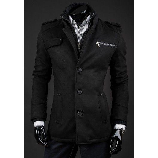 Pánsky zimný kabát čiernej farby - fashionday.eu
