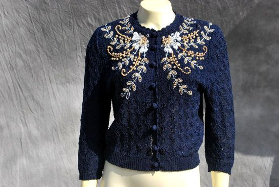 50's hand loomed hand embroidered  sweater