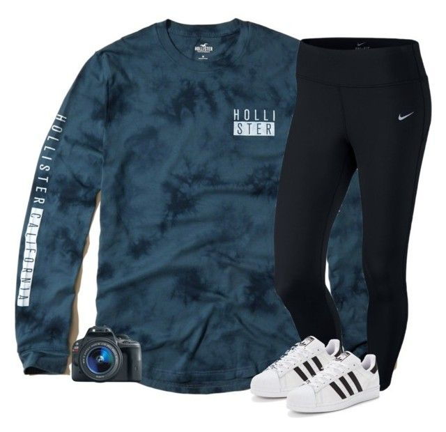 """I just have to let you know"" by southernstruttin ❤ liked on Polyvore featuring Hollister Co., NIKE, adidas Originals and Eos"