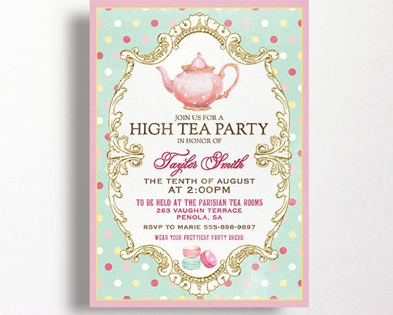 High Tea Invitation for a tea party high tea or bridal shower tea. This listing is for a personalized 5x7 inch invitation provided as a