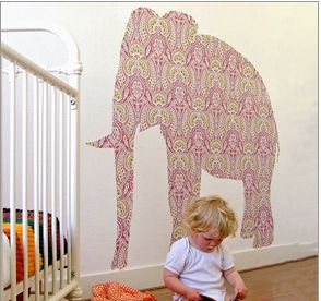 "Animal shape wall paper.  Ever wall papered? There are always odd left over pieces, stencil and animal or flower shape for your kids or another room in the house that needs a bit of ""quirk"" added to it."