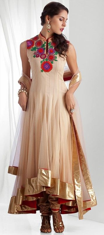 407921, Party Wear Salwar Kameez, Silk, Net, Stone, Bugle Beads, Sequence, Beige and Brown Color Family