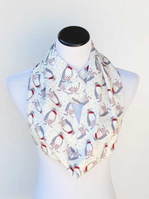 Christmas infinity scarf white red gray by #HappyScarvesByLesya
