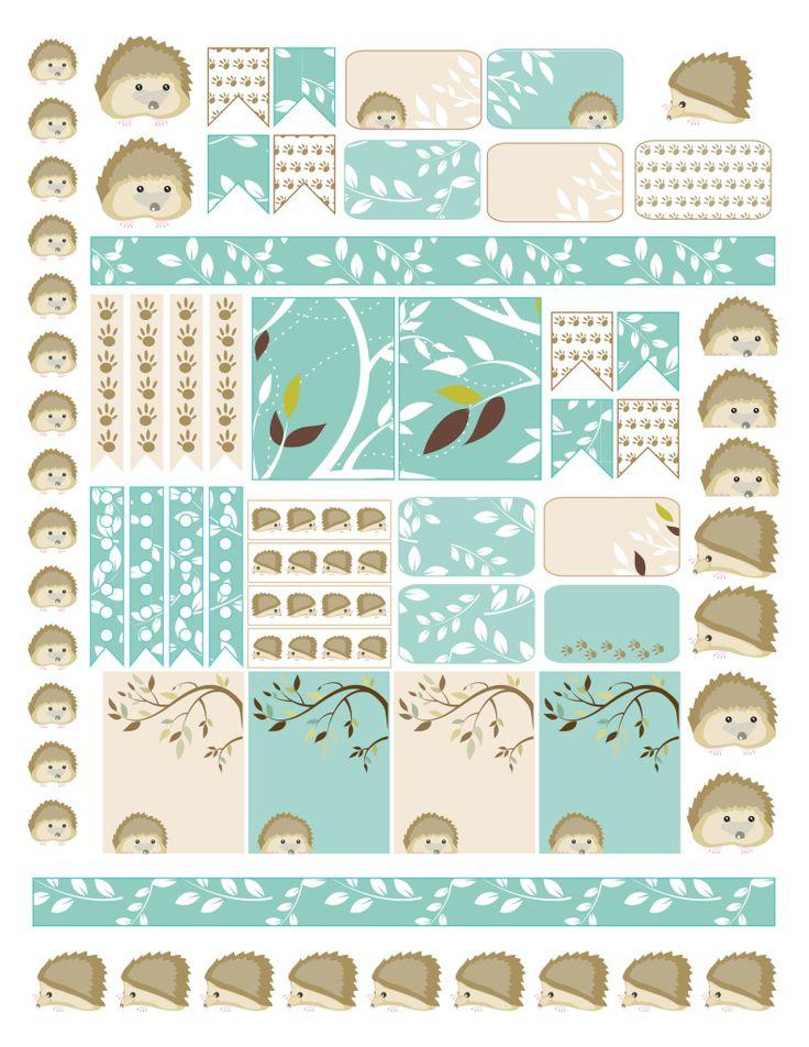 FREE Hedgehog Planner Sticker Printable