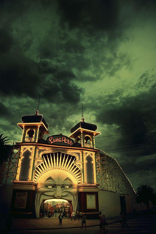 landscapelifescape:   St. Kilda, Melbourne, Australia Whilst The City Of Melbourne Burns by Hellblazer!
