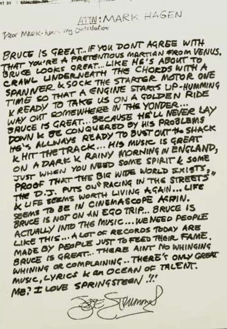 """Bruce is great…if you don't agree with that, you're a pretentious Martian from Venus!"" - RIP Joe Strummer"