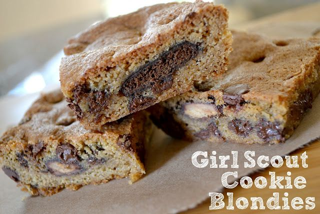 Thin Mint Blondies, Tagalong Blondies, Girl Scout cookie recipes, Girl ...