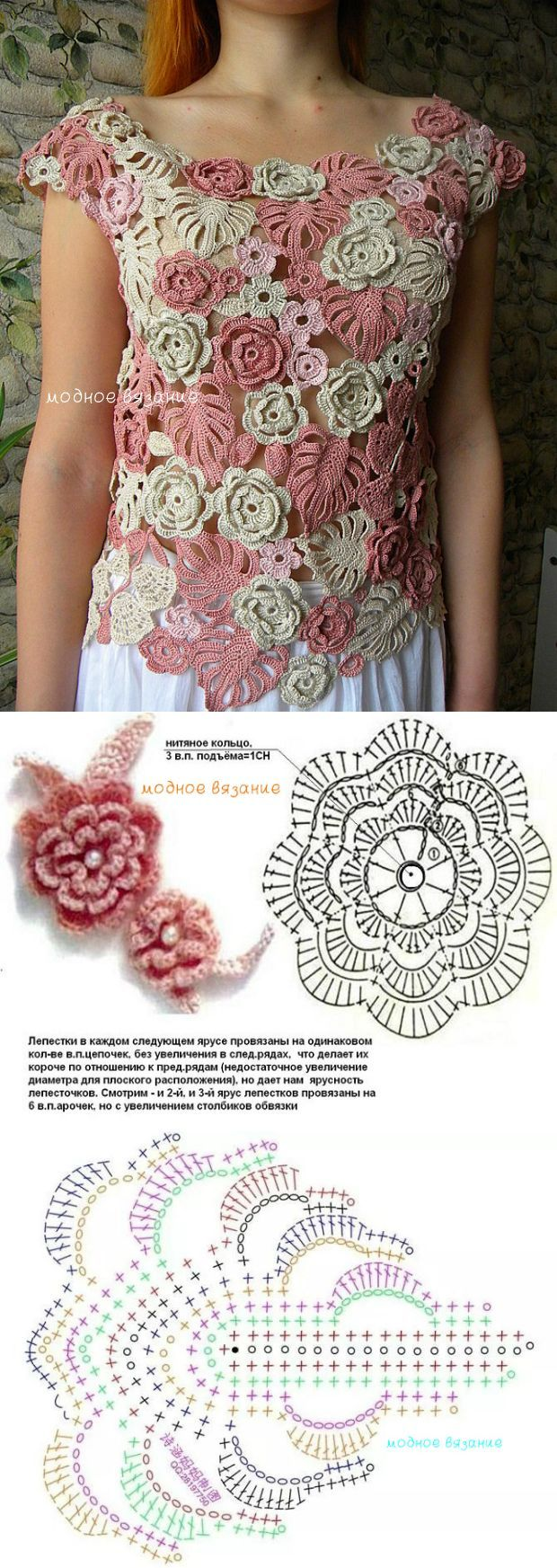 Кофточка *Кремовые розы* - Модное вязание [] #<br/> # #Irish #Crochet,<br/> # #Crochet #Flowers,<br/> # #Posts,<br/> # #Crochet #Patterns,<br/> # #Photography,<br/> # #Knitting,<br/> # #Blusas #Tejidas,<br/> # #Leaf,<br/> # #Tissue<br/>