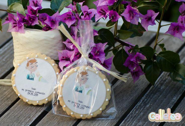 Galletas individuales con papel de azúcar en bolsa. Diseño propio. http://www.galletea.com/galletas-decoradas/