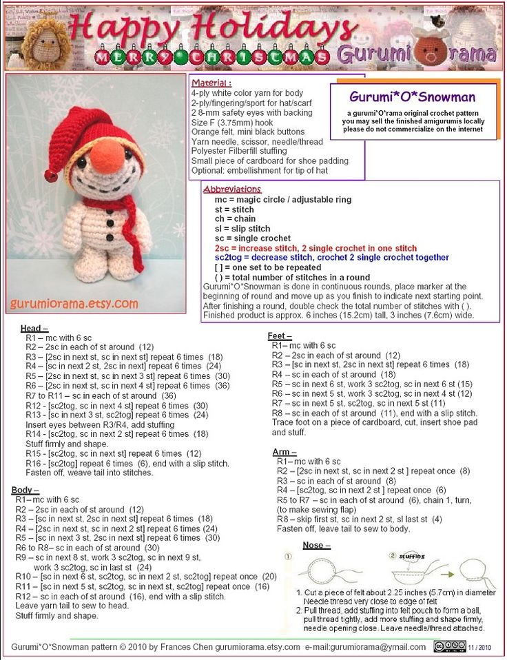 Free crochet pattern amigurumi Snowman.