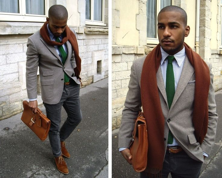 Shop this look for $436:  http://lookastic.com/men/looks/tie-and-longsleeve-shirt-and-pocket-square-and-scarf-and-chinos-and-briefcase-and-desert-boots-and-blazer-and-belt/762  — Green Knit Tie  — White Longsleeve Shirt  — White and Black Polka Dot Pocket Square  — Burgundy Scarf  — Grey Chinos  — Brown Leather Briefcase  — Brown Suede Desert Boots  — Grey Wool Blazer  — Brown Woven Leather Belt