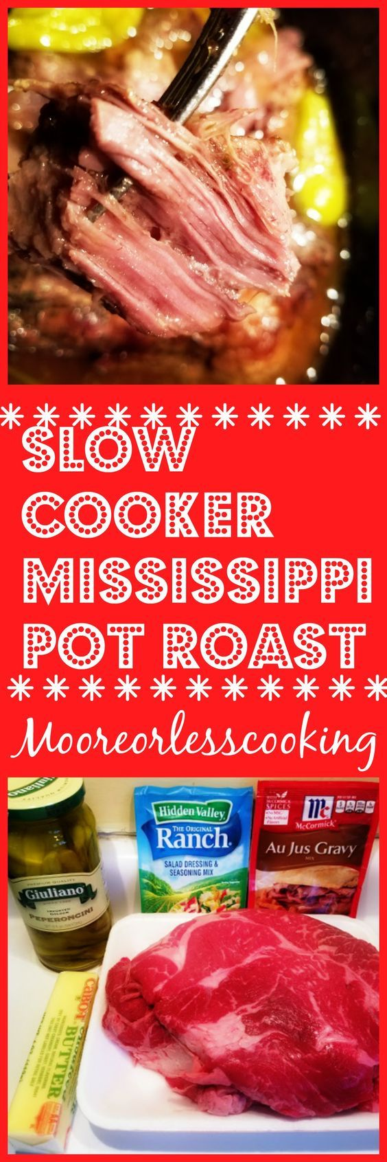 Slow Cooker Mississippi Pot Roast & Video