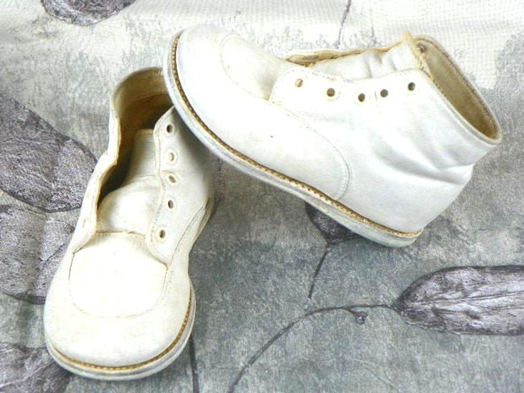 Vintage White Leather Baby Shoes Toddler Walking Shoes