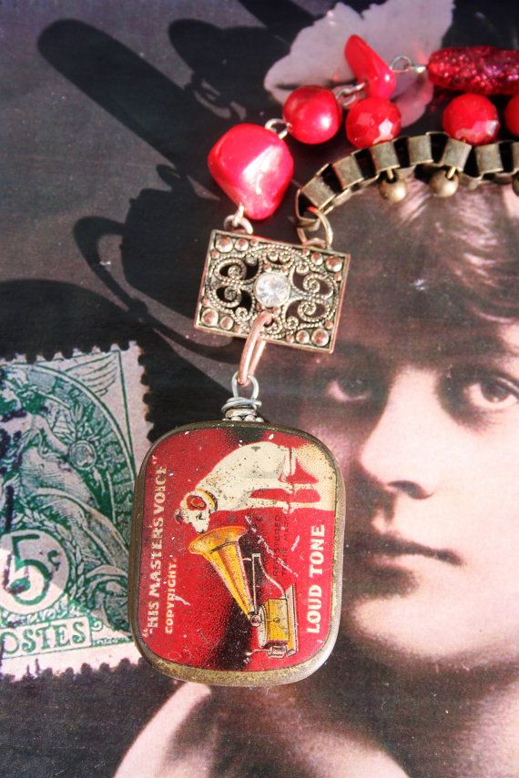 Eclectic Assemblage necklace Dog jewelry Bookchain necklace