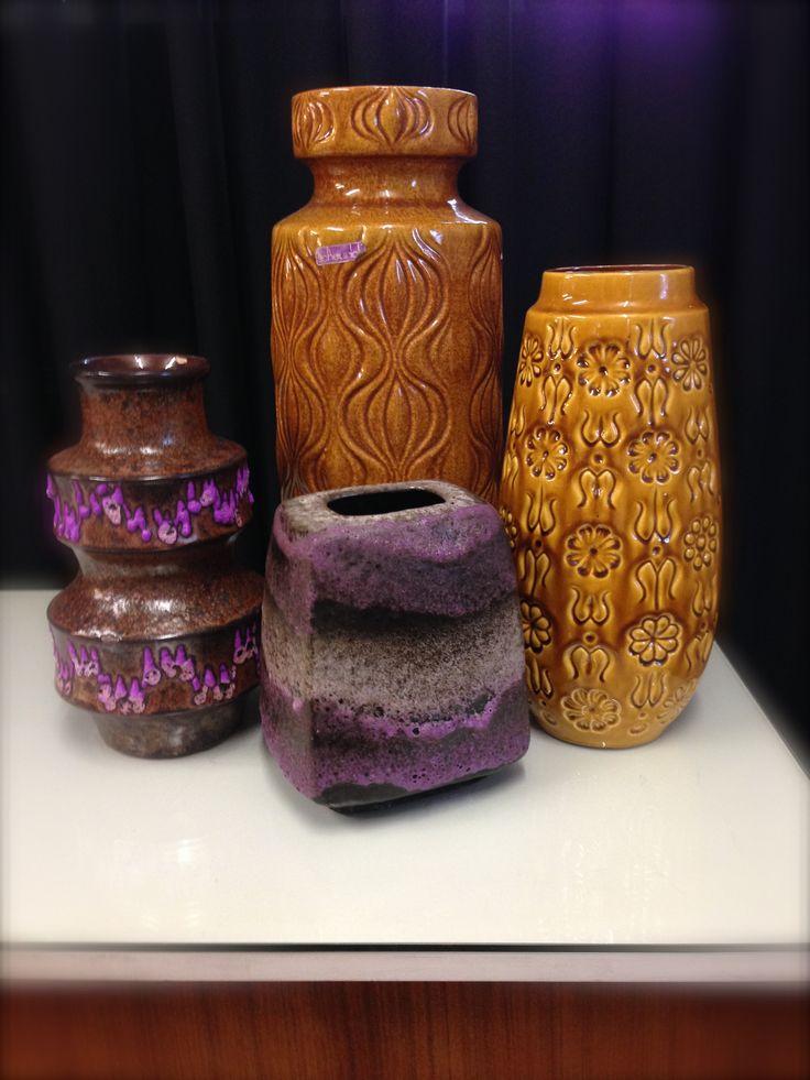 West German Pottery West Germany keramiek Scheurich Retro vazen Vintage vases